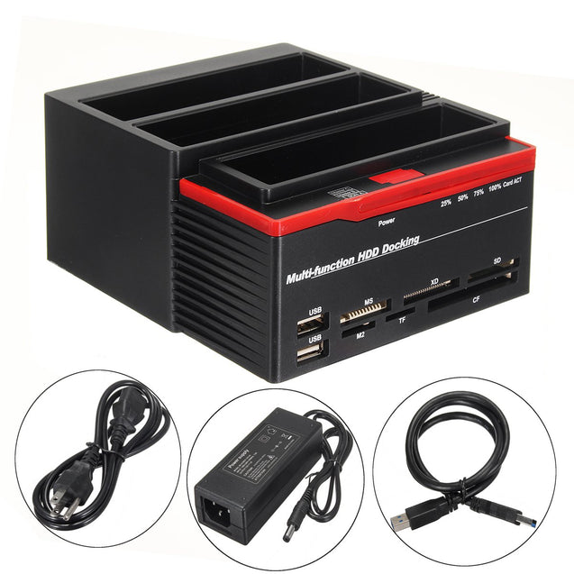 "US 2.53.5"" ALL In One USB3.0 To SATA IDE HDD SSD Hard Drive Enclosure Offline Clone Card Reader Hub"""