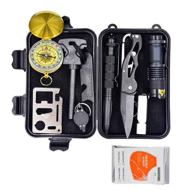 IPRee 10 In 1 EDC Outdoor Survival Tools Kit Case Camping Emergency First Aid Box