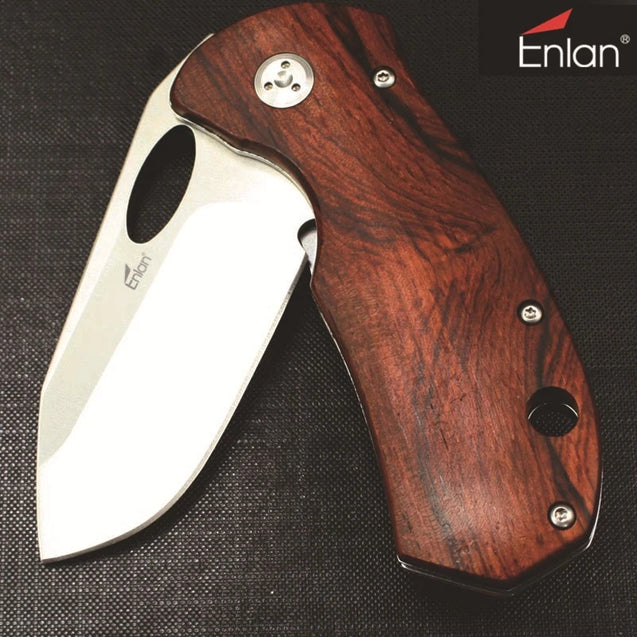 Enlan EL-05 Folding Pocket Knife with 8Cr13Mov Blade Wood Handle Liner Lock Stainless Steel Knife Home Cutter