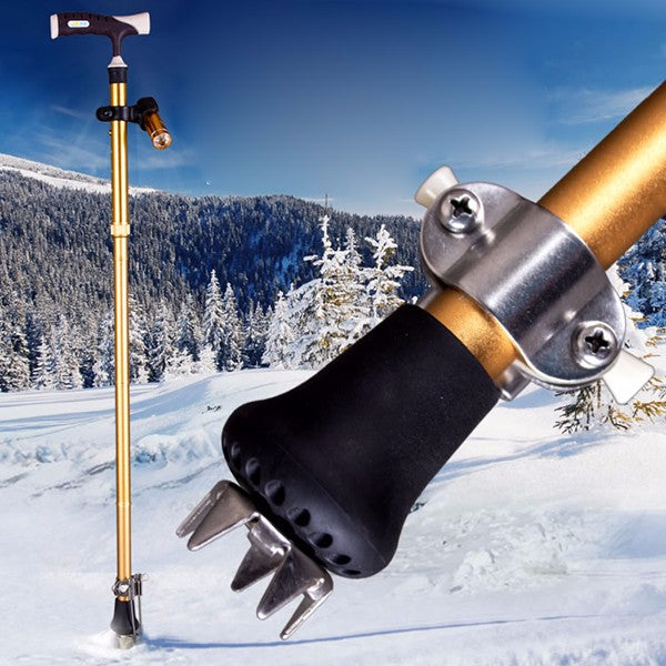 Snow Grip for Walking Cane Ice Grip Attachment Spikes Mud Snow Disability Safety Aid