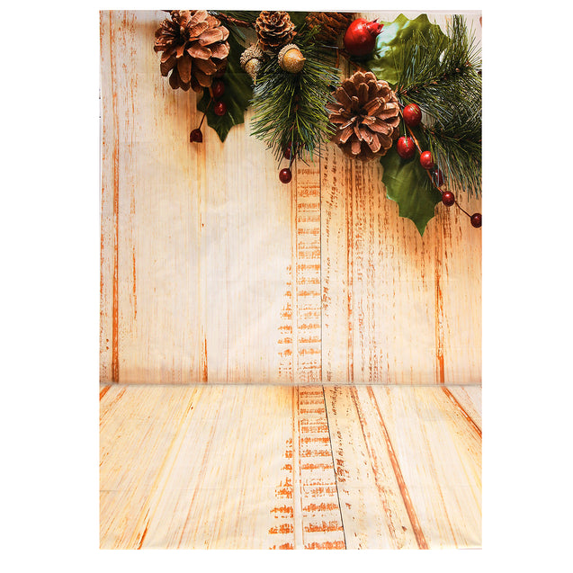 7x5ft Wooden Floor Pinecone Christmas Photography Background Photo Props Studio Backdrop