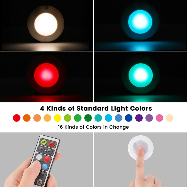 6 Pcs Elfeland Cabinet Lights RGB Led Night Light with Remote Control Stairs Light Cabinet Light Battery Operated for Cabinets, Wardrobe Kitchen Bedroom