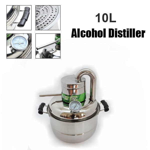 10 Litre Household Stainless Steel Home Alcohol Distiller Brewing Device Spirits Distillation Boiler