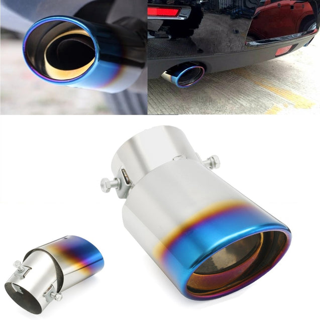 63mm Inlet Car Exhaust Muffler Tip Pipe Stainless Steel Chrome Grilled Blue