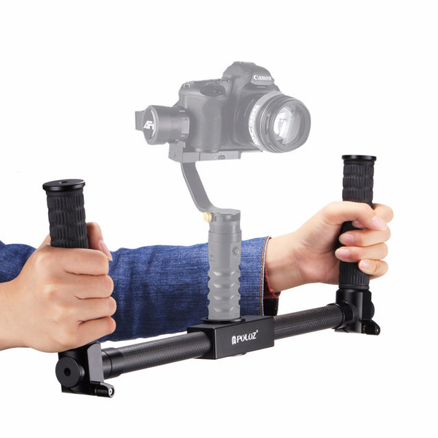 PULUZ PU369 Dual Handheld Grip Gimbal Extended Bracket Carbon Fiber Metal 3-Axis Stabilizer