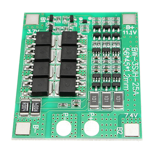 3S 12V 25A 18650 Lithium Battery Protection Board 11.1V 12.6V With Balanced Circuit