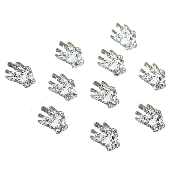 3D Silver Metal Hand Skeleton Nail Art Decoration Alloy Halloween Girls Manicure 10Pcs