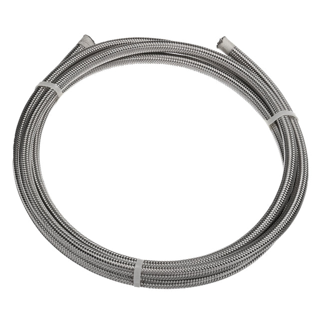 Silver Stainless Braided Pipe Teflon Gas Oil Fuel Coolant Hose 6-AN 8mm