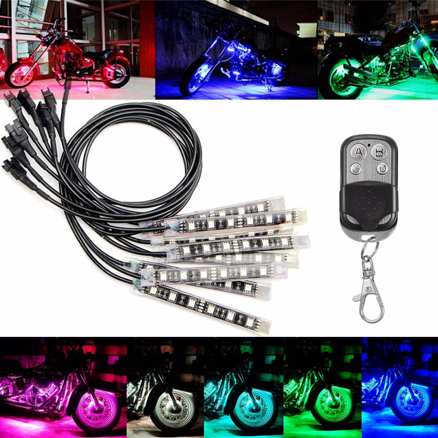 8X Multicolor 5050 LED Remote Light Strip For Kawasaki Honda BMW Halley Audi