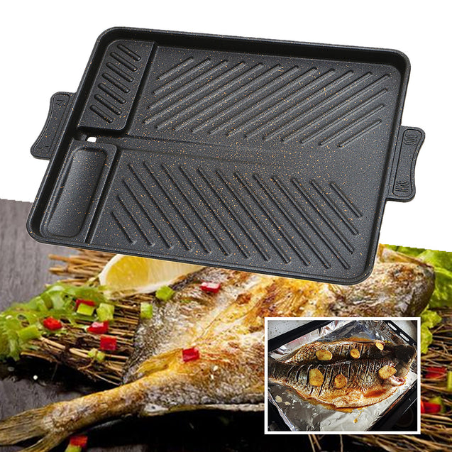 37.5x26cm Aluminum Alloy Barbecue BBQ Plate Pan Grill Non Stick Smokeless Hob Party