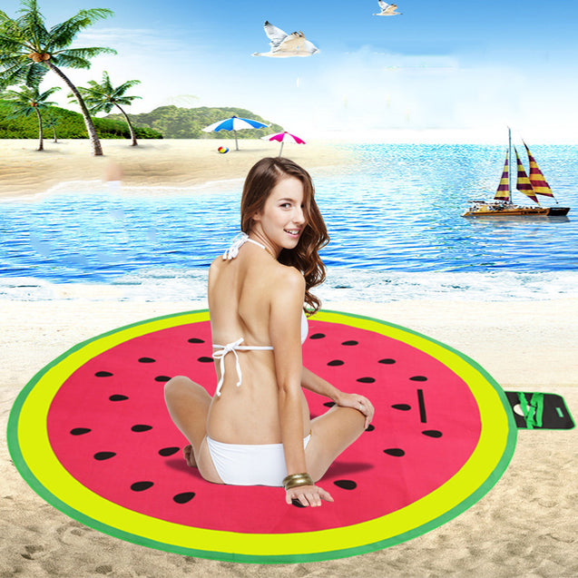 200 x 200CM Picnic Watermelon Round Mat Camping Large Beach Moisture Proof Pad Ground Cushion