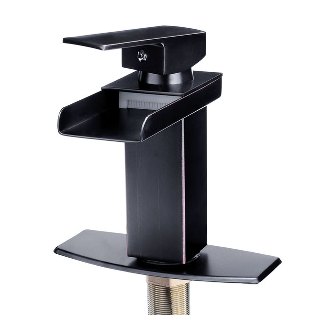 Oil Rubbed Square Faucet Bathroom Single Tap Basin Waterfall Spout Sink Mixer