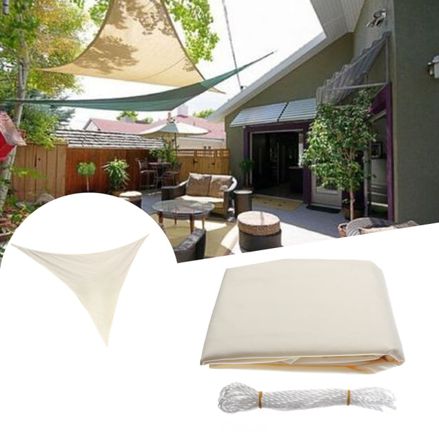 2.4x2.4x2.4M Triangle Sun Shade Sail Canopy Patio Garden Awning UV Block Top Shelter Beige