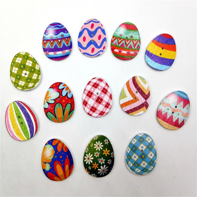 Wooden Buttons Easter Eggs Mixed 2 Holes Buttons for Sewing Scrapbooking Crafts DIY
