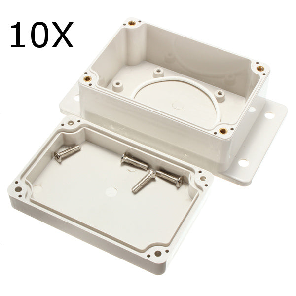 10Pcs 100x68x50mm White Plastic Enclosure Waterproof Electronic Case PCB Box Junction Case