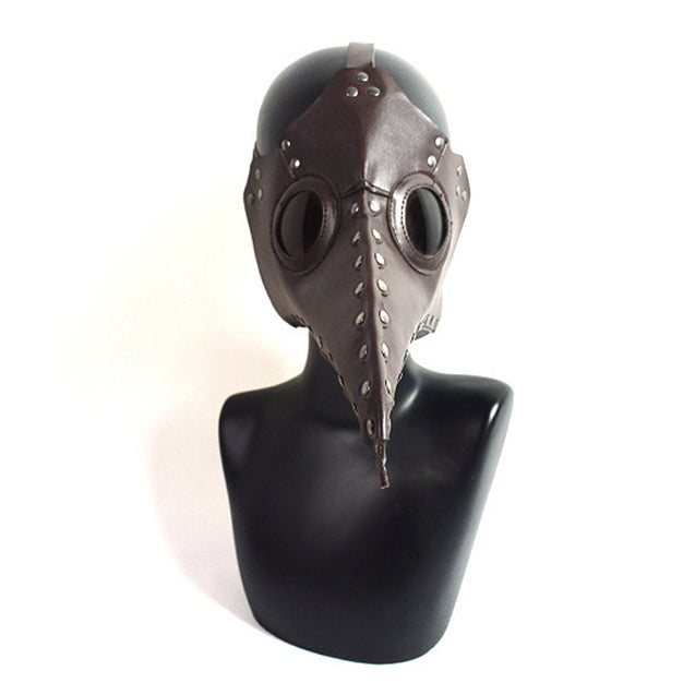 Outdoor Game Brown PU Leather Steampunk Plague Bird Nose Mask Gothic Halloween Party Costume