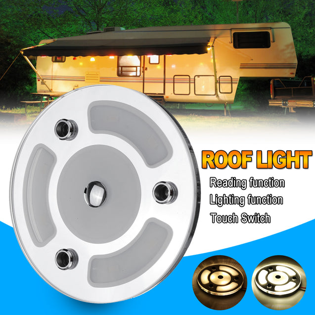 3W Touch SwitchLED Car Roof Reading Light Dimmable Day Night Lamp for Caravans Boats DC10-30V