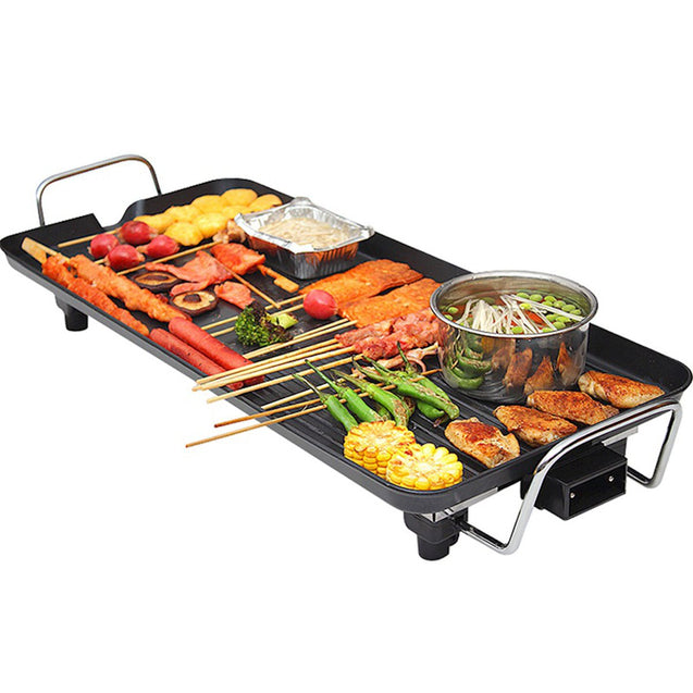 1500W 1-4 People Electric BBQ Grill Teppanyaki Griddle Non Stick Barbecue Hot Plate