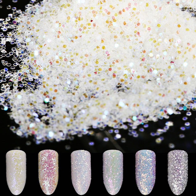 6Colors/set Nail Art Glitter Powder Dust Colorful White Tips Mixed Sequins Decoration