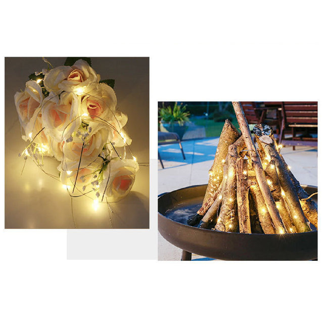2M 20LED String Fairy Light Waterproof Warm White Copper Wire Lamp for Outdoor Garden Home Decor