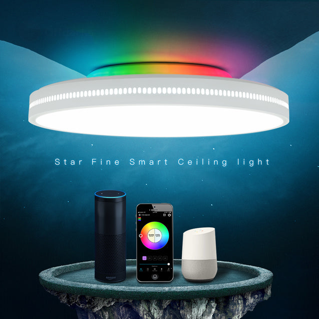 OFFDARKS AC200-240V 48W 450mm Ceiling Lamp Bedroom Kitchen LED Ceiling Light RGB Dimming APP WIFI Voice Control with Remote Controller