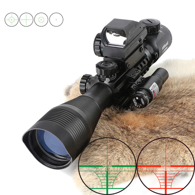 Ohhunt 4-12X50 Hunting Tactical Green Laser Sight Riflescope Illuminated Rangefinder Airgun Scope