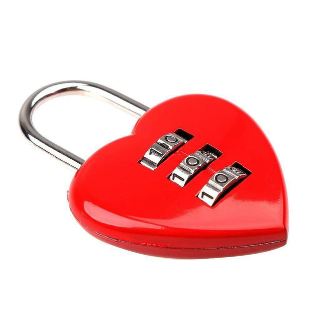 Heart Shaped 3 Digit Travel Luggage Lock Resettable Combination Padlock for School Gym&Sports Locke
