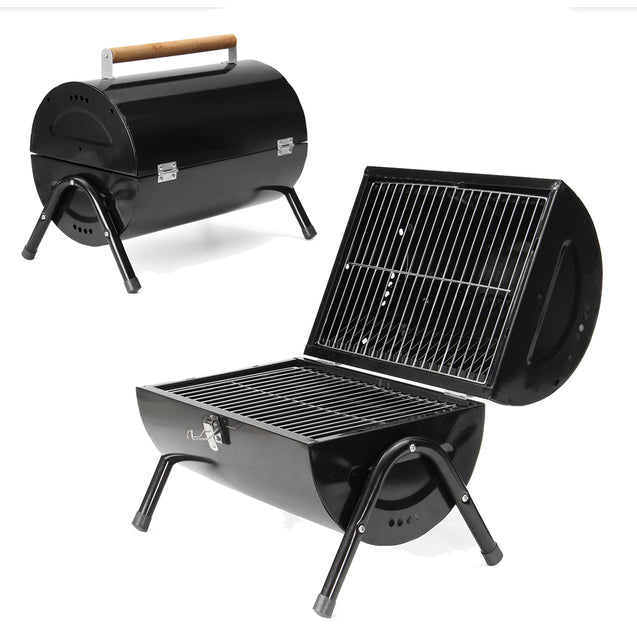 Portable Barrel BBQ Barbecue Grill Folding Garden Outdoor Camping Meat Party