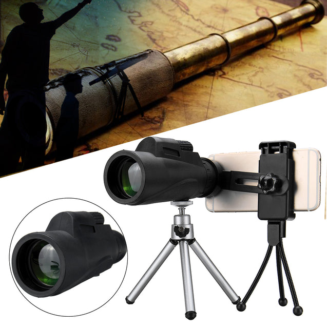 12X50 Monocular HD BAK4 Lens Telescope Night Vision With Tripod Phone Holder Clip Outdoor Camping