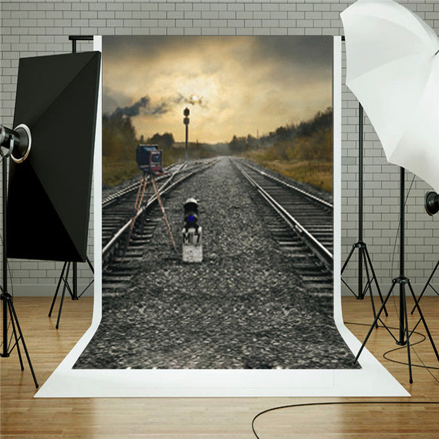 Train Road Railway Track Camera Theme Photography Background Cloth Backdrop