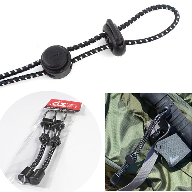 2pcs Outdoor Backpack Mountaineering Climbing Stick Rope Clip Buckle Fixed Buckle Elastic Rope Bundl