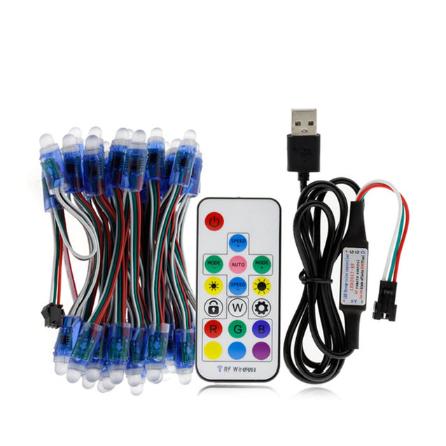 50PCS 5M 21W WS2811 IP68 Full Color RGB LED Pixel Module Strip Light with 17keys Remote Control DC5V