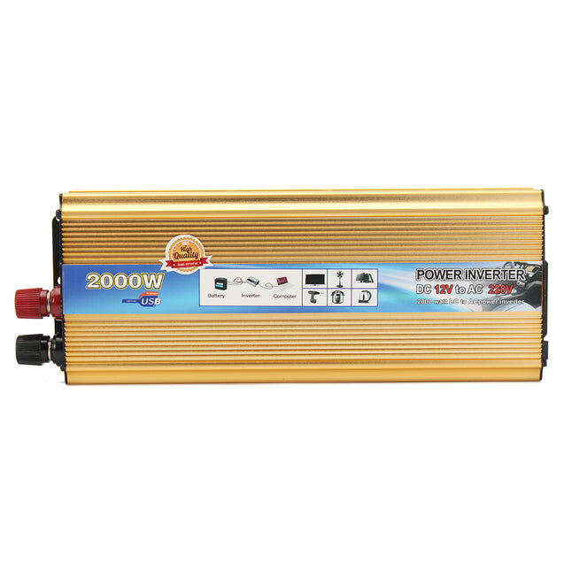 2000W Power Inverter DC 12V to AC 220V Car Converter Adapter USB Charger Supply