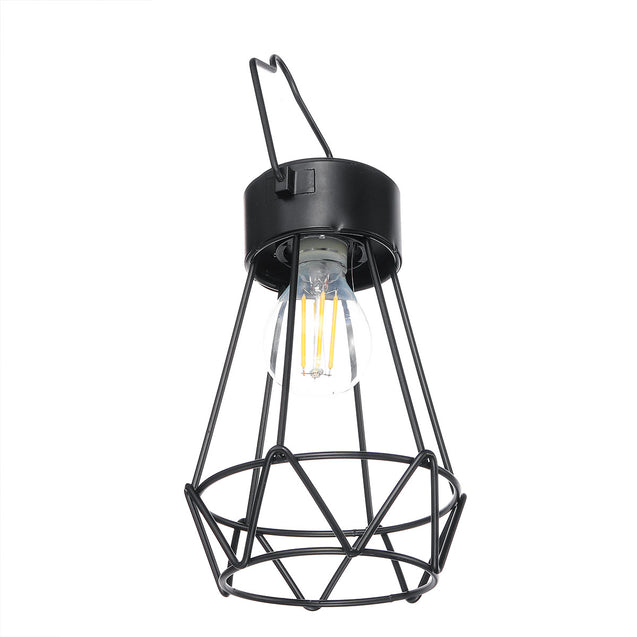 Solar Powered Retro Vintage Hanging Metal Cage Light Outdoor Garden Lantern With Bulb