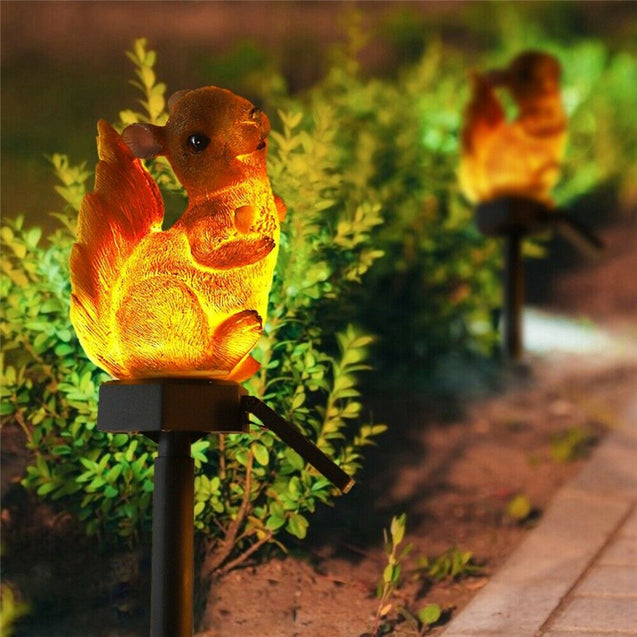 Squirrel Solar Lawn Lamp Garden Decor Light Waterproof Outdoor Pathway