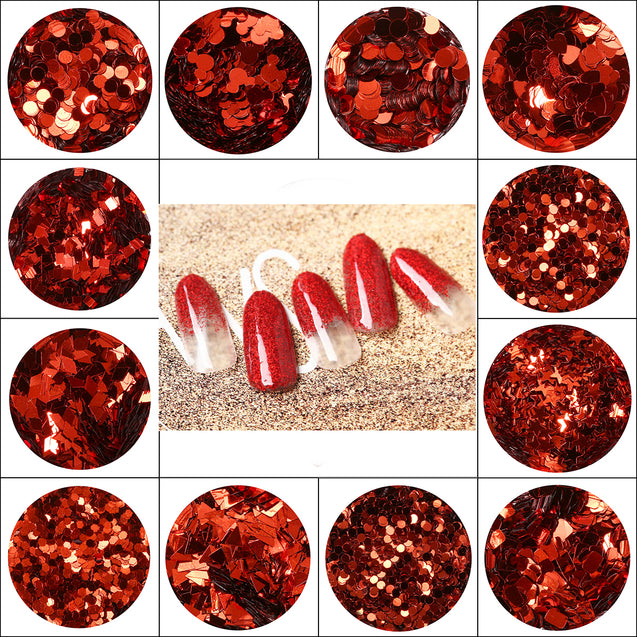 12pcs Glitter Tattoo Body Face Eye 3D Nail Art Powder Sequins Decorate Red Color