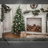 7x5FT White Room Christmas Tree Fireplace Gift Photography Backdrop Studio Prop Background
