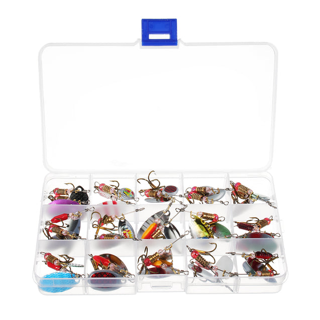 ZANLURE 30pcs/lot Colorful Tront Spoon Metal Fishing Lure Spinner Bait Bass Tackle With Box