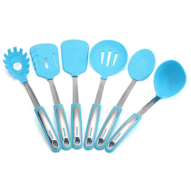 7 Pieces Stainless Steel and Silicone Cooking Utensil Set with Premium Stand Cooking Spoon