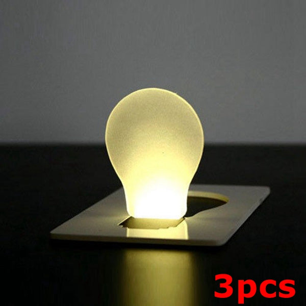 3pcs Portable LED Card Light Pocket Lamp Purse Wallet Emergency Light