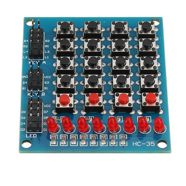 3pcs 8 LED 4x4 Push Button Switch 16 Keys Matrix Independent Keyboard Module For AVR ARM STM32