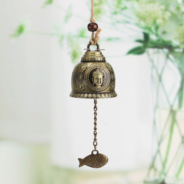 Vintage Alloy Buddha Statue Bell Blessing Feng Shui Wind Chime for Good Luck Fortune Decorations