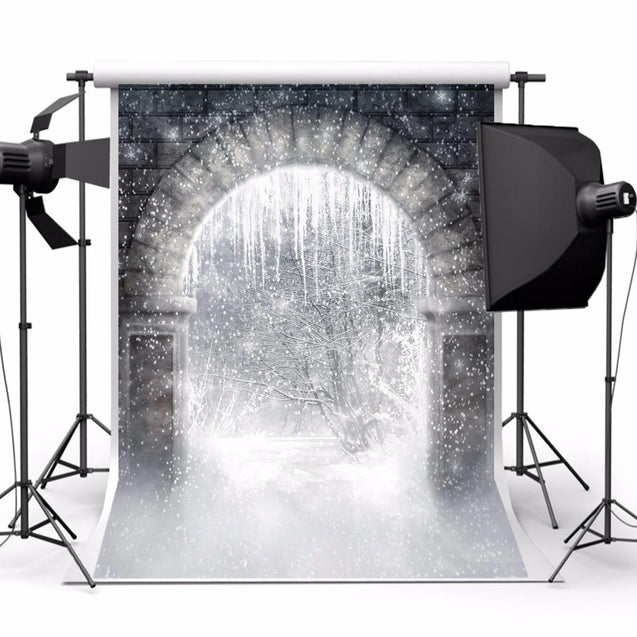 Snow Forest Archway Magic World Theme Photography Vinyl Backdrop Studio Background 2.1m x 1.5m
