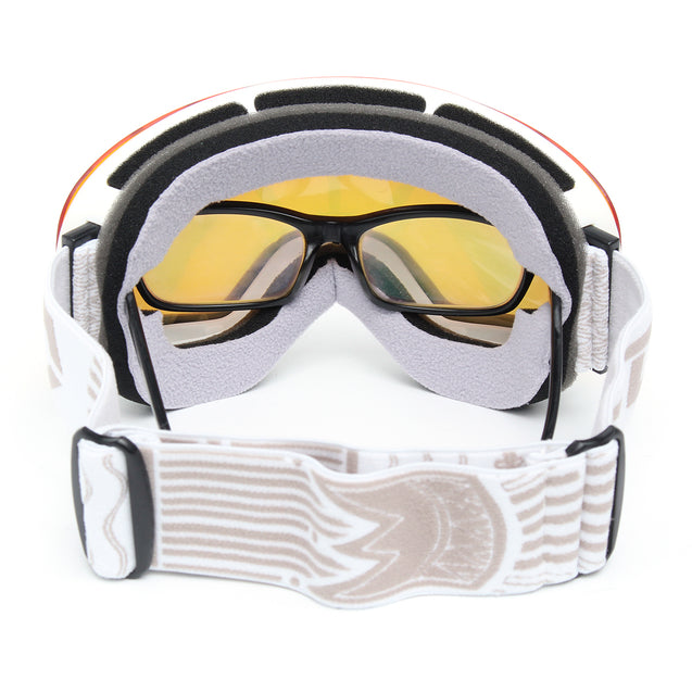 Snowboard Ski Goggles Anti Fog UV Protection Double-Lens Motorcycle Sport Glasses White Frame