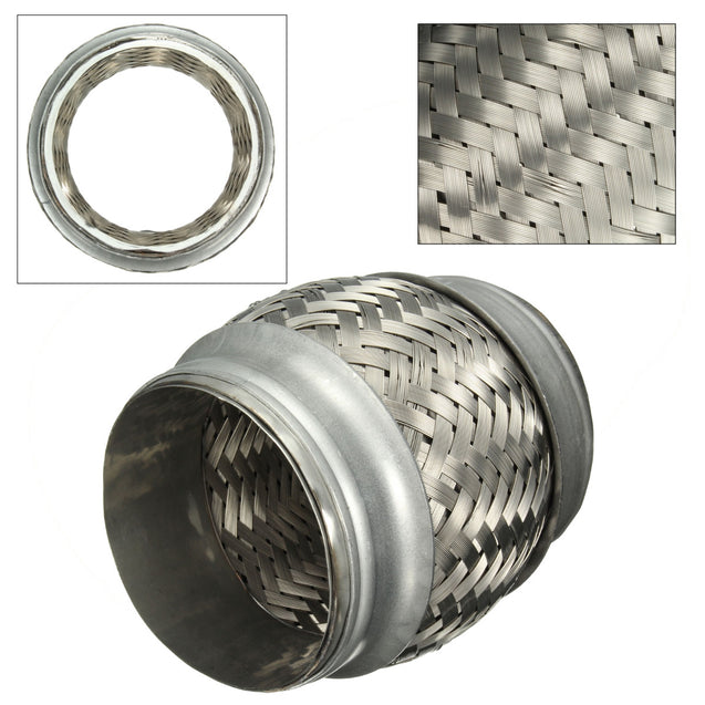 72mm Car Stainless Steel Exhaust Pipes Connector Double Braided Flex