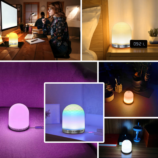 Touch Night Light Portable Table Lamp RGB USB Rechargeable Bedside Lamp for Bedroom Living Room Office Corridor Outdoor