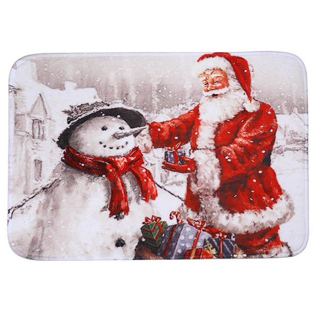 3Pcs/Set Bathroom Non-Slip Christmas Style Bathroom Carpet Rug Toilet Seat Cover Mat Set