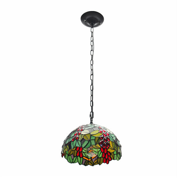 E27 Vintage Tiffany Style Pendant Light Stained Glass Iron Hanging Chain Ceiling Lamp AC110-265V