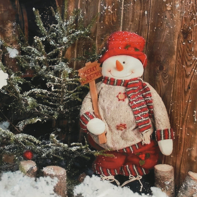 7x5FT Christmas Snowman Wooden Wall Outdoor Photography Backdrop Studio Prop Background