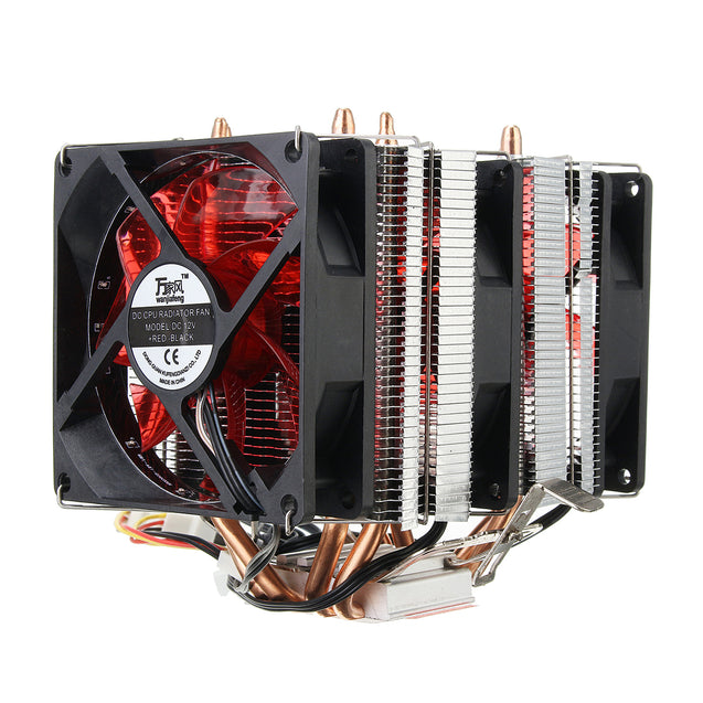 4 Heat Pipes Red Led 3 CPU Cooling Cooler Fan Heat Sink for AMD AM2/2+ AM3 Intel LGA 1156